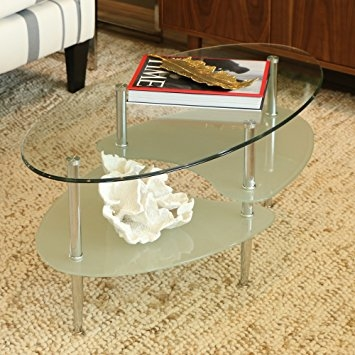 Excellent Favorite Metal Oval Coffee Tables Within Amazon Walker Edison Glass Oval Coffee Table Kitchen Dining (View 35 of 50)