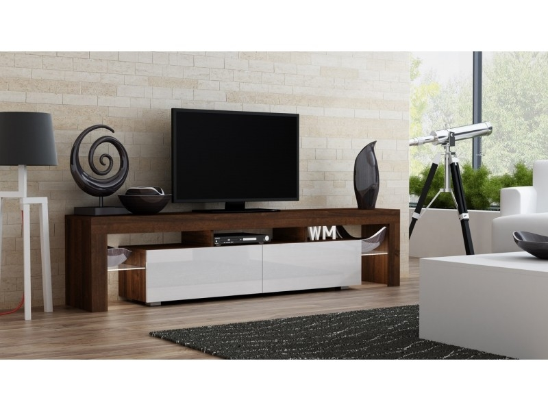 Excellent Favorite Modern Walnut TV Stands Inside Milano 200 Width Modern Tv Stand Concept Muebles (View 26 of 50)