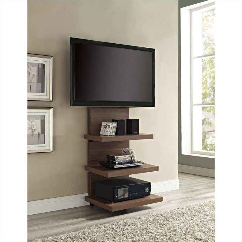 Excellent Favorite Skinny TV Stands Pertaining To Hollow Core Mount Tv Stand In Walnut  (Image 14 of 50)