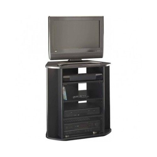 Excellent High Quality Black TV Stands With Glass Doors Regarding Corner Entertainment Unit Tall Black Tv Stand Storage Console (Image 14 of 50)