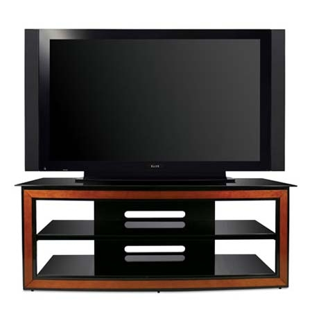 Excellent High Quality Cherry Wood TV Stands In Bello Versatile Black Glass And Wood Trim 65 Inch Tv Stand Cherry (Image 5 of 50)