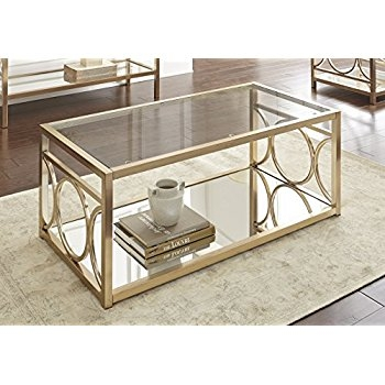 Excellent High Quality Chrome Coffee Tables In Amazon Steve Silver Olympia Glass Top Coffee Table In Gold (Image 15 of 50)