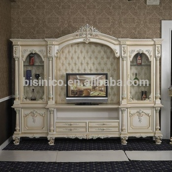 Excellent High Quality French TV Cabinets Regarding Italy Style European Classical White And Gold Colour Wooden Tv (Image 12 of 50)