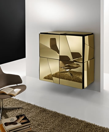Excellent High Quality Gold TV Stands In Contemporary Sideboards With Mirror Finish Psiche Tonelli (Image 15 of 50)