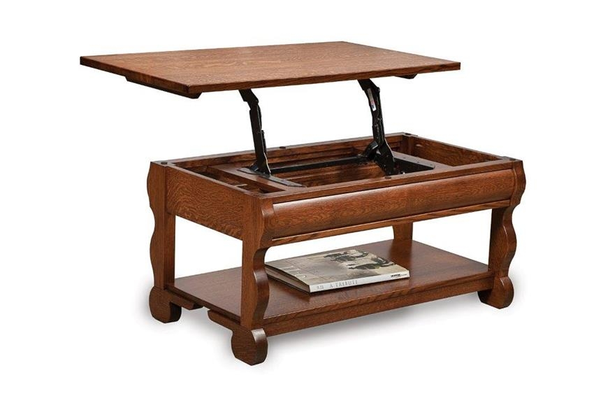 Excellent High Quality Lift Top Coffee Tables Inside Amish Old Classic Sleigh Open Lift Top Coffee Table With Counter (View 17 of 50)