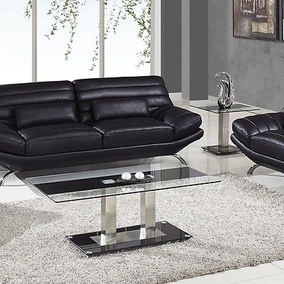 Excellent High Quality Modern Chrome Coffee Tables Regarding Modern Chrome Coffee Table End Glass Black Living Room Furniture (Image 13 of 40)