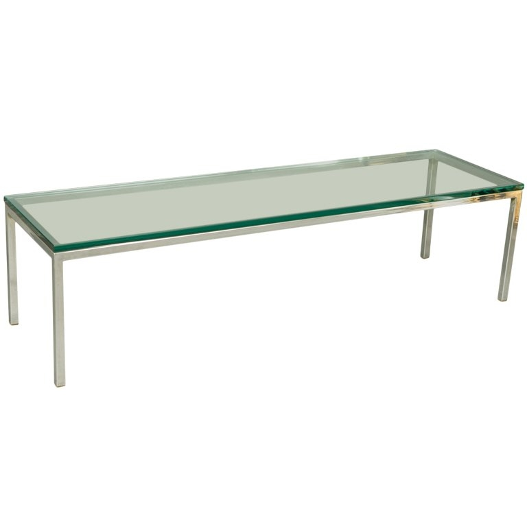 Excellent High Quality Rectangle Glass Chrome Coffee Tables In Mid Century Chrome And Glass Coffee Table At 1stdibs (Image 14 of 50)