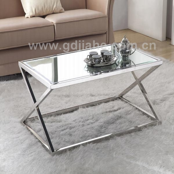 Excellent High Quality Steel And Glass Coffee Tables In X Base Coffee Table S Shape Stainless Steel Leg Glass Coffee Table (Image 12 of 50)