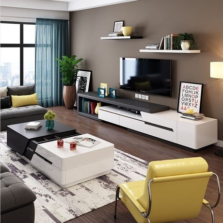 Excellent High Quality Tv Unit And Coffee Table Sets Throughout Modern Tv Stand Set Promotion Shop For Promotional Modern Tv Stand (Image 12 of 50)