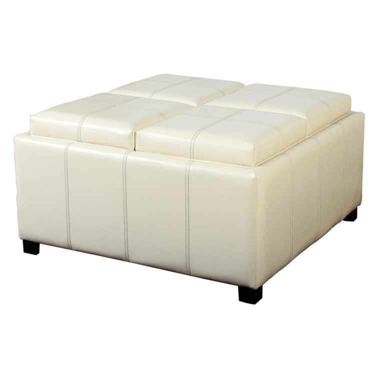 Excellent High Quality White Coffee Tables With Baskets Intended For Furniture White Leather Ottoman Table With Storage And Wooden (Image 16 of 40)