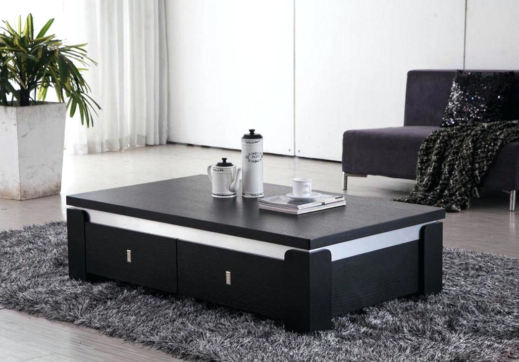 Excellent Latest Large Low White Coffee Tables Intended For Black Magic Ash Black Glass Coffee Table With Storage Large Round (View 41 of 50)