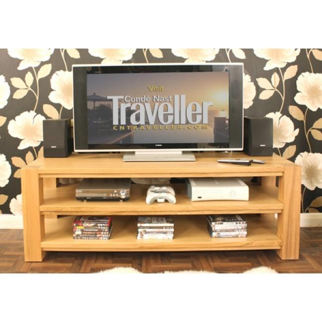 Excellent Latest Light Oak TV Cabinets Regarding Buy Villa Light Oak Open Shelf Widescreen Tv Cabinet Chic Furniture (Image 14 of 50)