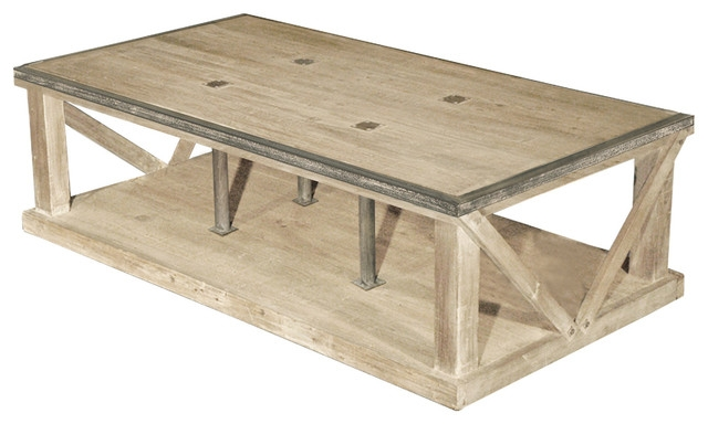 Excellent Latest Old Pine Coffee Tables Throughout Forte French Country White Wash Reclaimed Pine Iron Coffee Table (Image 15 of 50)