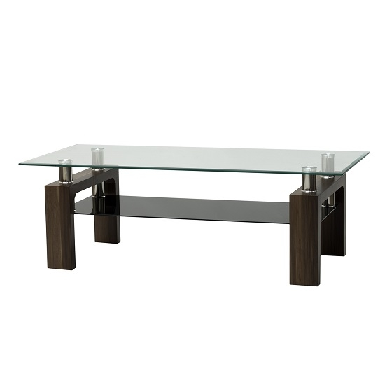 Excellent Latest Rectangular TV Stands Throughout Glass Tv Stand Rectangular In Clear With Walnut Legs (Image 15 of 50)