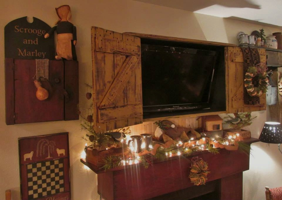 Excellent Latest Rustic TV Cabinets Inside Primitive Colonial Rustic Tv Cabinet (Image 9 of 50)