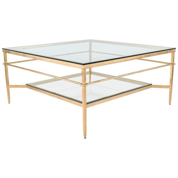 Excellent Latest Safavieh Coffee Tables With Regard To Couture Collection Mieka Gold Leaf Cocktail Table (View 14 of 50)