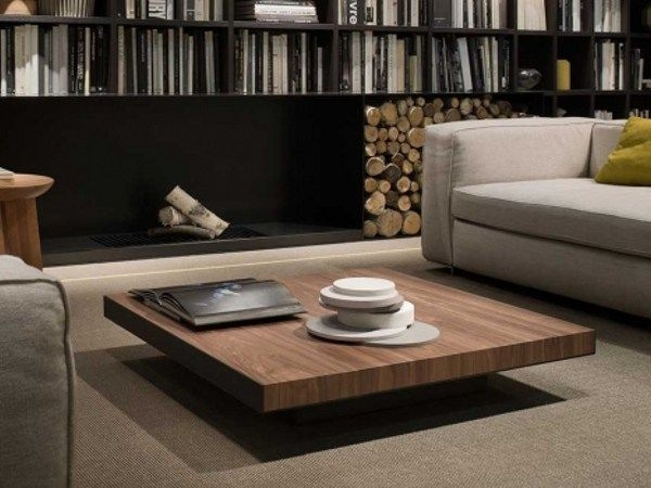 Excellent Latest Solid Wood Coffee Tables In Low Square Solid Wood Coffee Table Deck Lema Design (Image 17 of 50)