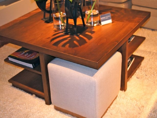 Excellent Latest Square Wood Coffee Tables With Storage Intended For Square Ottoman Coffee Table With Storage (View 19 of 50)