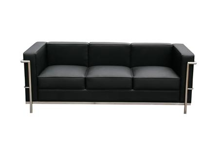 Excellent Modern Black Leather Couches Jackie Mid Century Inside Image 7