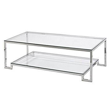 Excellent New Glass Steel Coffee Tables With Regard To Amazon Large Demster Glass Coffee Table Glass And Stainless (Image 14 of 50)