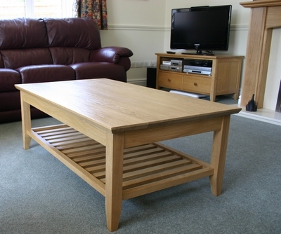 Excellent New Oak Coffee Table With Shelf Within Wooden Coffee Tables Chamfered Top Oak Coffee Table With Storage (Image 13 of 50)