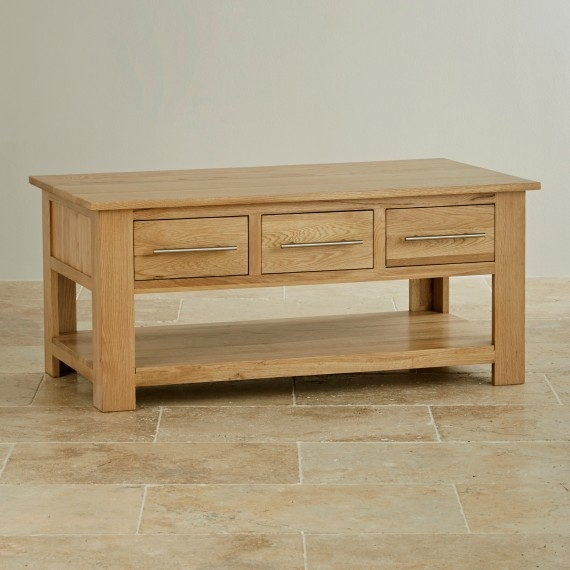 Excellent New Solid Oak Coffee Table With Storage With Regard To Solid Oak Mango Painted Coffee Tables Oak Furniture Land (Image 9 of 50)