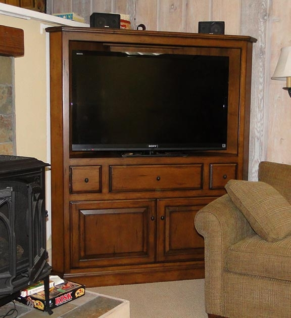 Excellent New TV Stands Cabinets Within Tv Cabinets Corner Media Console Sauder August Hill Corner (Image 14 of 50)