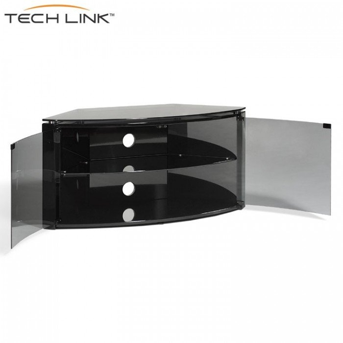 Excellent Popular Black TV Cabinets With Doors For Techlink B6b Bench Piano Gloss Black With Smoked Glass Corner Tv (Image 14 of 50)