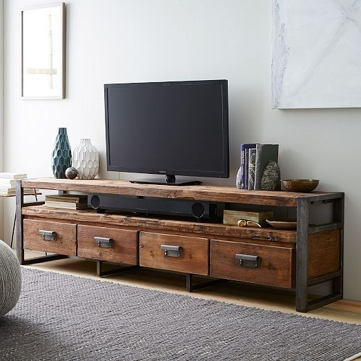 Excellent Popular Cast Iron TV Stands Inside Bin Pull 4 Drawer Media Console Industrial Irons Consoles And Pine (Image 13 of 50)