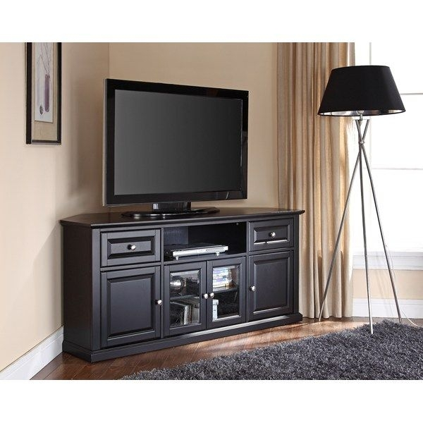 Excellent Popular Corner Oak TV Stands For Flat Screen Within Best 25 Black Corner Tv Stand Ideas On Pinterest Small Corner (Image 16 of 50)