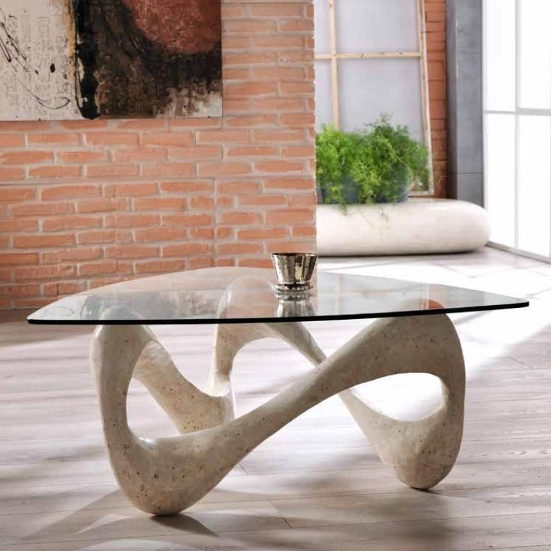 Excellent Popular Glass And Stone Coffee Table For Monza Solid Stone Glass Coffee Table Stotetris Coffee (Image 13 of 50)