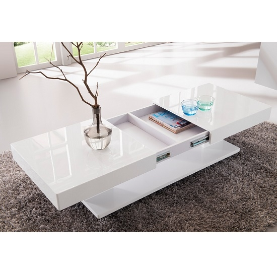 Excellent Popular High Gloss Coffee Tables In Verona Extendable High Gloss Coffee Table In White  (Image 11 of 40)