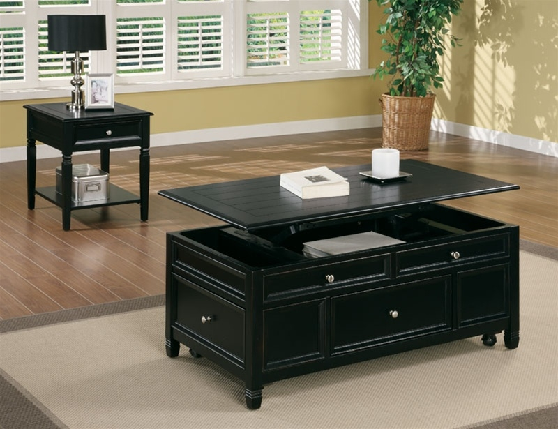 Excellent Popular Lift Coffee Tables With Regard To Lift Top Cocktail Table In Black Finish Coaster (View 45 of 50)
