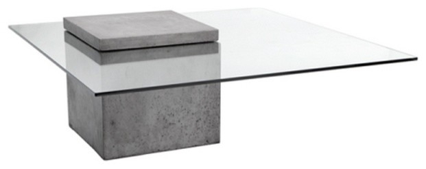Excellent Popular Modern Glass Coffee Tables Throughout Modern Glass Coffee Table With Polished Concrete Contemporary (View 6 of 50)