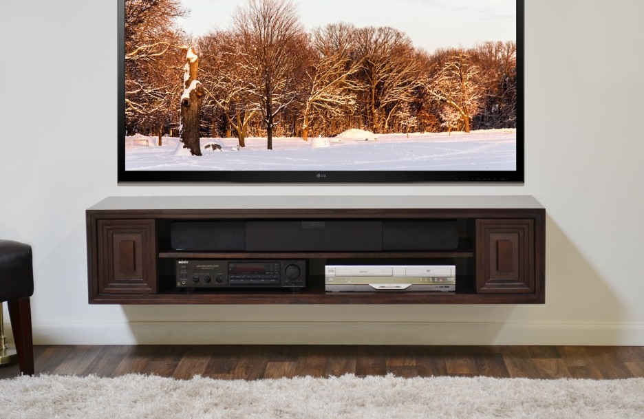 Excellent Popular Modern Wall Mount TV Stands Within Media Cabinet Under Wall Mounted Tv Bar Cabinet (Image 15 of 50)