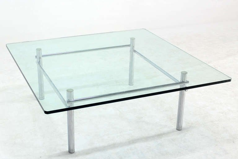 Excellent Preferred Glass And Chrome Coffee Tables Pertaining To Solid Chrome Base With Heavy Steel Bars And Square Glass Top (Image 17 of 50)