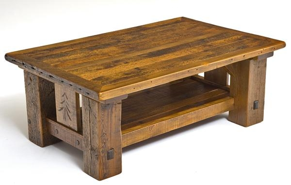 Excellent Preferred Pine Coffee Tables Throughout Rustic Lodge Coffee Table Carved Pine Tree Motif Cabin Decor (Image 18 of 50)