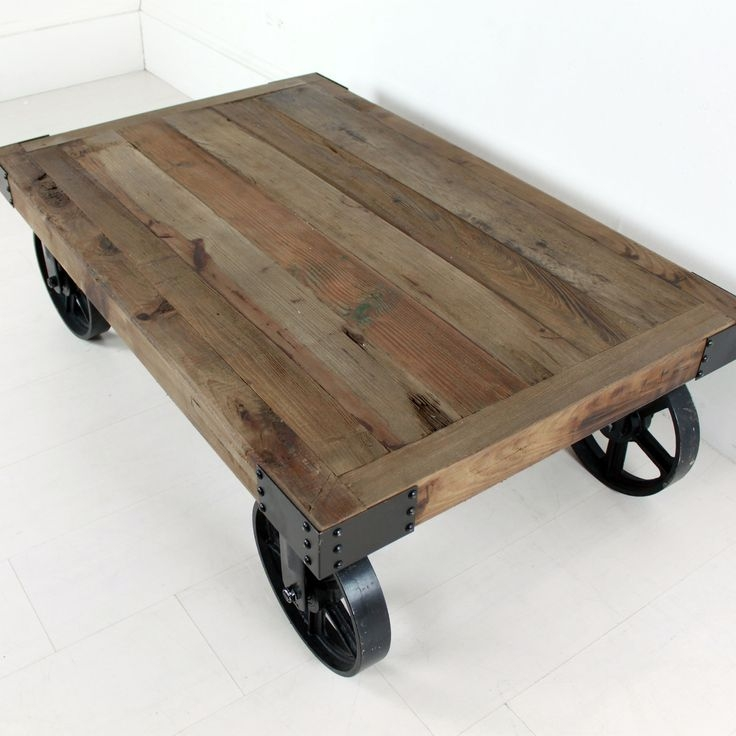 Excellent Preferred Rustic Coffee Table With Wheels Intended For Best 25 Coffee Table With Wheels Ideas On Pinterest Industrial (Image 17 of 50)