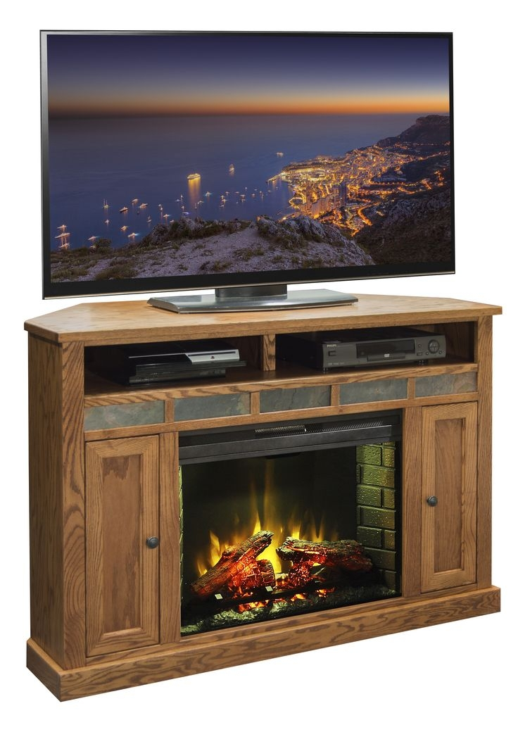 Excellent Preferred Small Oak Corner TV Stands Regarding Oak Electric Fireplace Tv Stand Home Hold Design Reference (View 17 of 50)