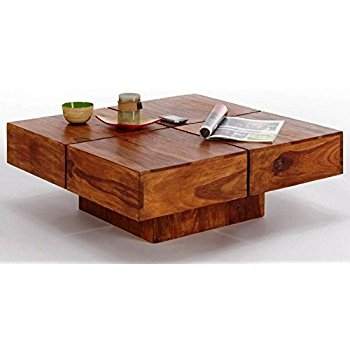 Excellent Preferred Solid Wood Coffee Tables Inside Ringabell Altavista Zigzag Solid Wood Coffee Table With Pouffe (Image 18 of 50)