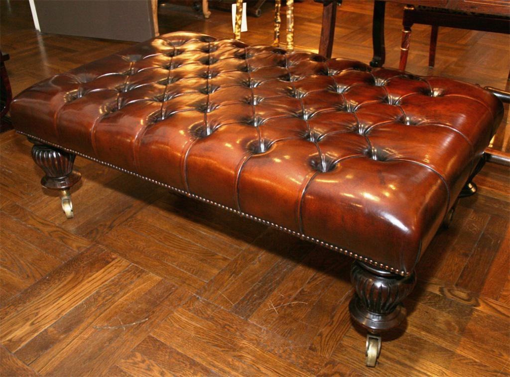 Excellent Premium Brown Leather Ottoman Coffee Tables With Coffee Table Breathtaking Leather Tufted Ottoman Coffee Square (View 26 of 50)