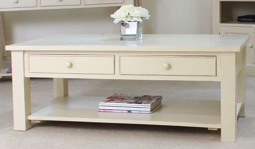 Excellent Premium Cream And Oak Coffee Tables Pertaining To Great Cream Coffee Table Cream Coffee Table With Open Shelf And (Image 13 of 40)