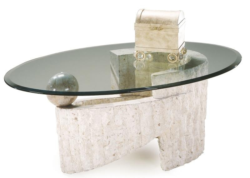 Excellent Premium Glass And Stone Coffee Table Pertaining To Artistic Oval Coffee Table Design With Stone Base And Glass Top (Image 14 of 50)