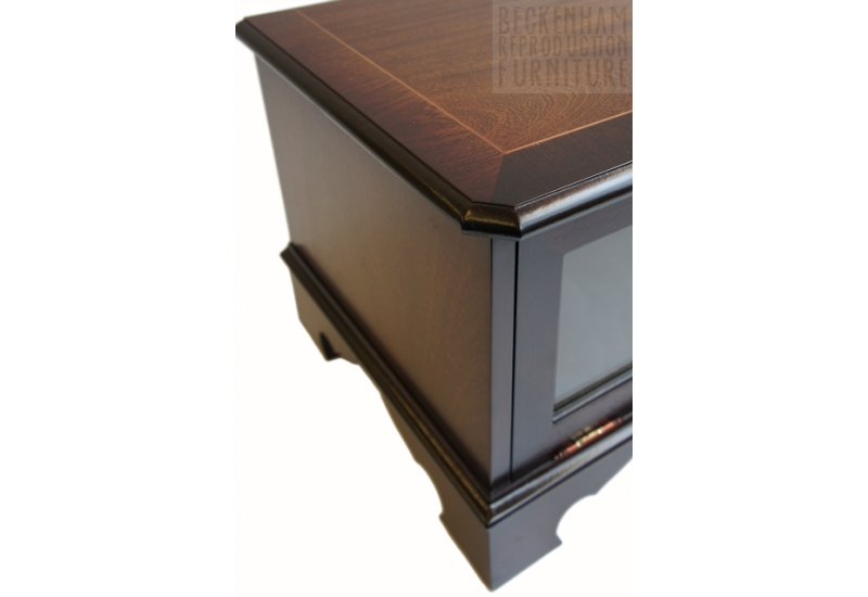 Excellent Premium Glass Front TV Stands Intended For Glass Front Tvvideo Box Cabinet Mahogany Veneer Beckenham (Image 19 of 50)