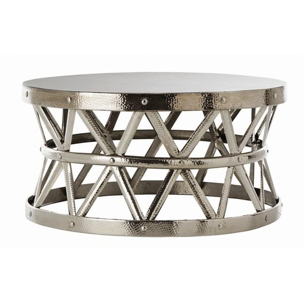 Excellent Premium Hammered Silver Coffee Tables Within Hammered Drum Cross Silver Coffee Table Free Shipping Today (Image 21 of 50)