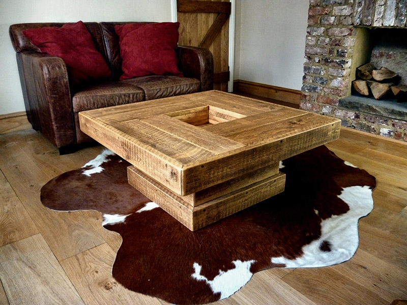 Excellent Premium Large Rustic Coffee Tables Throughout Chic Square Rustic Coffee Table New Lighting New Lighting (View 29 of 50)