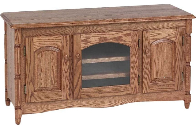 Excellent Premium Long Oak TV Stands With Country Style Solid Oak Tv Stand With Cabinet 51 Traditional (Image 14 of 50)