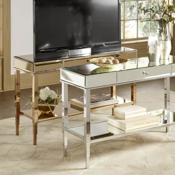 Excellent Premium Mirrored TV Stands Inside Camille Glam Mirrored Tv Stand Console Table With Drawer (View 20 of 50)