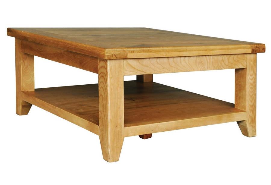 Excellent Premium Oak Square Coffee Tables Regarding Provence Oak Square Coffee Table With Shelf (View 7 of 50)