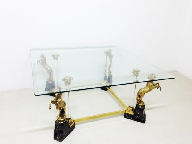 Excellent Premium Vintage Glass Coffee Tables With Regard To Vintage Glass Coffee Table With Brass Horse Legs 1970s For Sale (Image 16 of 50)